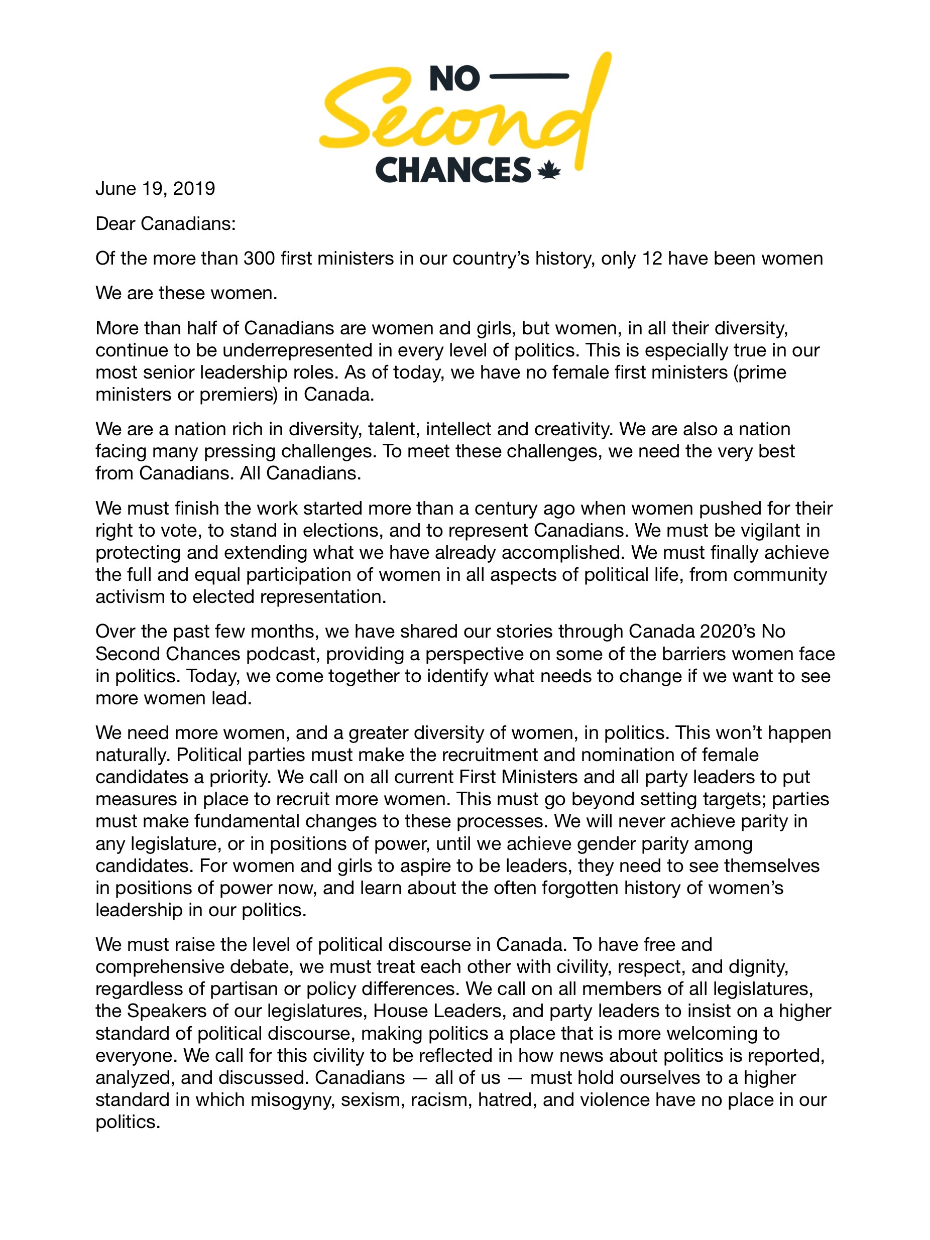 An open letter to Canadians from Canada's female First Ministers - page 1